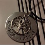 Personalised Hand stamped Family Circle Tree of life washer pendant Necklace - A